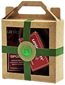Mini Geschenkset mit Haarseife, Spülung und Olivenholzschale - unicorn