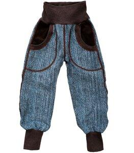 Kinder-/Baby-Mitwachs-Hose aus jeansblauem Jersey-Tweed - Omilich