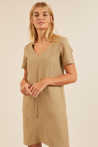 Kleid mit Kordelzug aus Tencel Lyocell mit Leinen - LANIUS