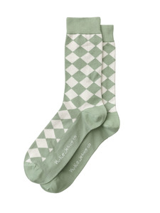 Nudie Jeans Socken Olsson NJ Argyle Pale Green - Nudie Jeans
