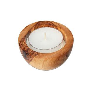 Kerzenhalter LUNA aus Olivenholz mit Sand & Teelicht groß  - Olivenholz erleben
