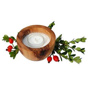 Wellness Kerzenhalter LUNA mit Sand & Teelicht klein - Olivenholz erleben