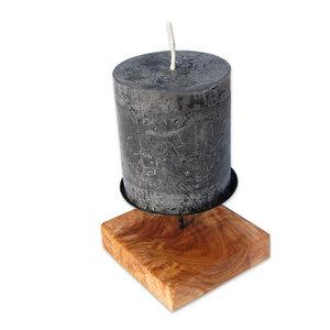 Kerzenhalter BLOCCO flach aus Olivenholz - Olivenholz erleben