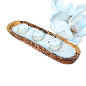 Kerzenhalter-Set WELLNESS inkl. Sand & 3 Teelichtern - Olivenholz erleben