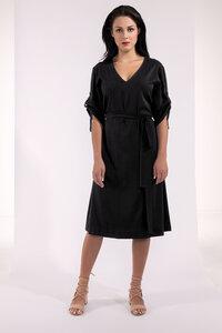 Knielanges Kleid mit gerafften Ärmeln und Gürtel Viskose blau oder schwarz - SinWeaver alternative fashion