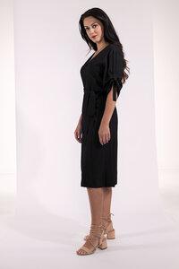 Kurzes Kleid, knielang mit gerafften Ärmeln blau oder schwarz - SinWeaver alternative fashion