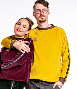 Pullover Organic Cord Nicki Bordeaux und Senf Made in Germany - Dörpwicht