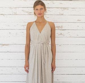 Tencel Kleid Midi Einheitsgröße - Multiposition Dress Short Stripe Tencel Linen - Suite 13