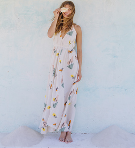 Kleid Maxi Einheitsgröße  Print - Multposition Dress Long Print Cotton Linen - Suite 13