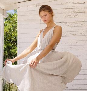 Tencel Maxikleid Einheitsgröße - Multiposition Dress Long Stripe Tencel Linen  - Suite 13