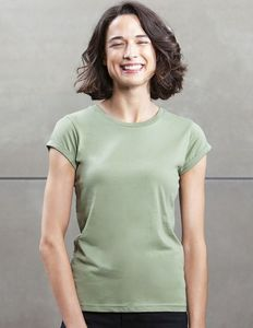 Damen Roll Sleeve T - Shirt lässig cooles Shirt  - Mantis
