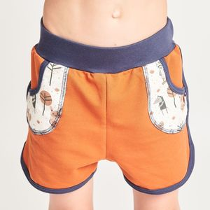 "Shorts aus Bio-Baumwolle ""Summersweat Kupferbraun/Paper Gang"" - Cheeky Apple"