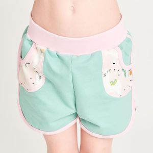 "Shorts aus Bio-Baumwolle ""Summersweat Minzgrün/Alpakas Rosa"" - Cheeky Apple"