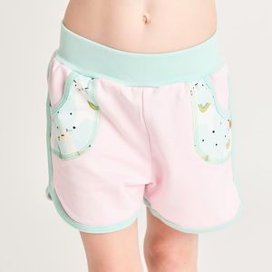 "Shorts aus Bio-Baumwolle ""Summersweat Zartrosa/Alpakas Türkis"" - Cheeky Apple"