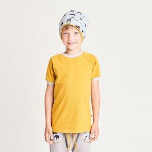 "Buben Kurzarm T-Shirt aus Bio-Baumwolle ""Ocker/Grau"" - Cheeky Apple"