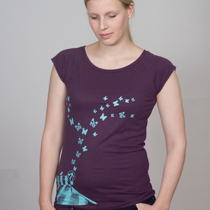 Bamboo Raglan Shirt Women Aubergine 'Butterflies' - SILBERFISCHER