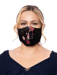 Wendbare Gesichtsmaske aus Bambusfaser & Bio Baumwolle (Vintage Rose auf Schwarz / Schwarz) - Milchshake