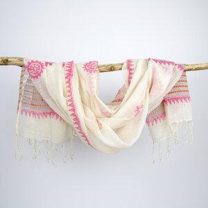 Damenschal XL, Baumwolltuch, handgewebt - verschiedene Muster - Sukham