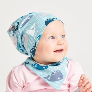 "Lätzchen aus Bio-Baumwolle ""Wale"" Blau/Hellblau/Zartrosa - Cheeky Apple"