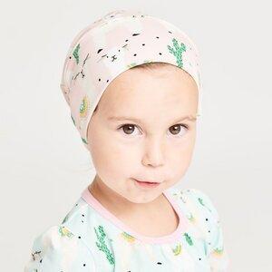 "Gefütterte Baby-Haube aus Bio-Baumwolle ""Alpakas"" Türkis/Rosa - Cheeky Apple"