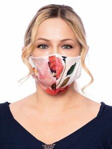 Wendbare Gesichtsmaske aus  Bambusfaser 3-lagig (Aquarell Rosen / weiss)   - Milchshake