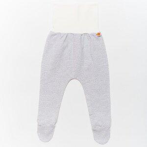 """Strampelhose mit Füßen aus Bio-Baumwolle """"Baby Basic Dotted Lines"""" Grau/Weiß - Cheeky Apple"""