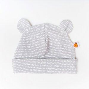 """Babyhaube mit Bärenohren aus Bio-Baumwolle """"Baby Basic Dotted Lines"""" Grau/Weiß - Cheeky Apple"""