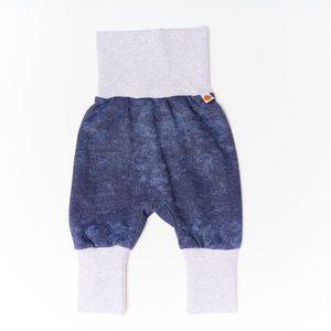 "Pumphose aus Bio-Baumwolle ""Baby Basic Pique"" Jeansblau/Grau - Cheeky Apple"