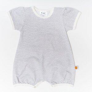 """Mädchen Kurzarm-Spieler aus Bio-Baumwolle """"Baby Basic Dotted Lines"""" Grau/Weiß - Cheeky Apple"""