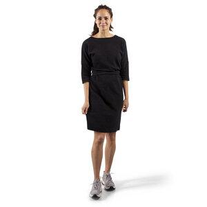 Hochwertiges Damenkleid aus weggeworfenem Piqué-Stoff - schwarze Melange - The Driftwood Tales