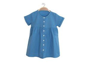 Bio Musselin Baumwolle Kleid Harmony (blau/coral/allover-druck) - Peter Jo Kids