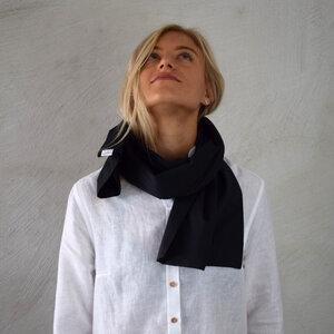 Schal schwarz für Damen Made in Germany Feinste Bio Baumwolle - Lou-i