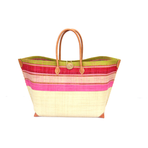 Strandtasche MERY GROSS Streifen / Uni mit Leder Griffen (Maße: 62/45 x 36 x 23 cm) - frosch und rabe