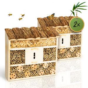 bambuswald© 2 Stück : Insektenhotel 29,5 x 10 x 28,5 cm | Bienenhotel - Bambuswald