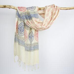 Baumwollschal / handgewebtes Tuch / hand bedruckt  - verschiedene Muster - Sukham