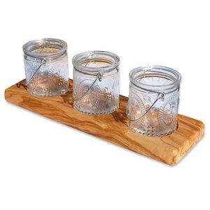 3er Windlicht MANICI aus Olivenholz mit 3 Glasgefäßen - Olivenholz erleben