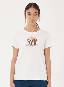 T-Shirt aus Bio-Baumwolle mit Popcorn-Print - ORGANICATION