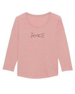 "Damen Longsleeve aus Slub Garn - ""Wave - Teach Peace""  - Human Family"