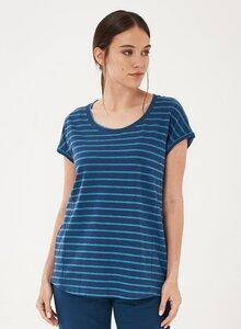T-Shirt aus Bio-Baumwolle und Leinen mit Ringelmuster - ORGANICATION