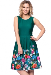 IRIS Kleid aus Bio Baumwolljersey mit Blumenbordüre - Ingoria