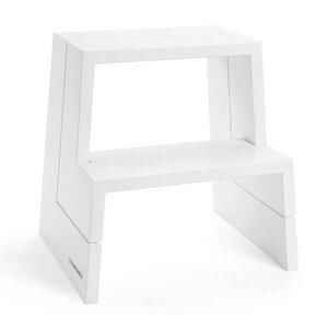 Design Holz-Tritthocker aus massiver Buche, weiß lackiert - NATUREHOME