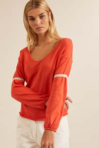 Oversize-Pullover Bio-Baumwolle GOTS redpepper/shell - LANIUS