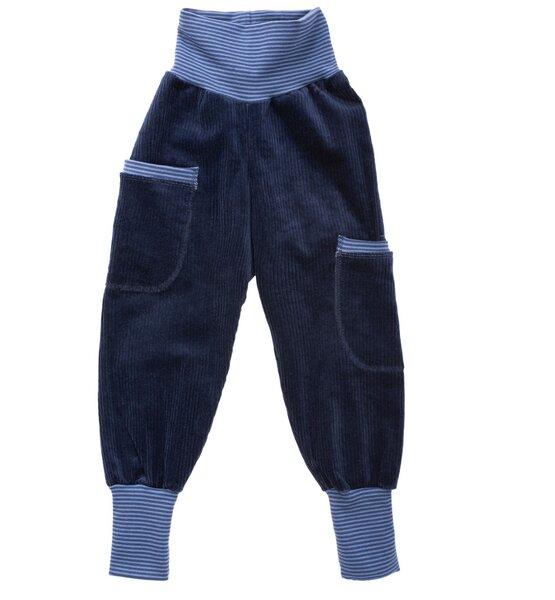 Kinder-/baby-mitwachshose Aus Blauem Stretch-breitcord Mit Taschen