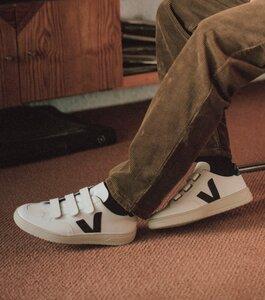 Sneaker Herren - V-Lock Velcro Leather - Extra White Black - Veja