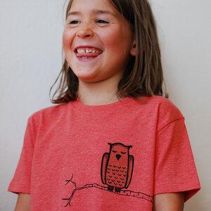 Kinder T-Shirt Zweigeule rot-meliert - Cmig