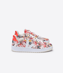 Sneaker Damen - V-12 Leather - Yucca White Orange Fluo - Veja