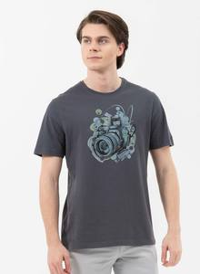 T-Shirt aus Bio-Baumwolle mit Kamera-Print - ORGANICATION
