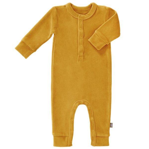 Fresk Velour Baby Strampler Pyjama Ohne Füßchen In Tollen Farben Gots Zertifiziert