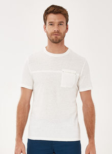 T-Shirt aus Bio-Baumwolle-Leinen-Mix mit Brusttasche - ORGANICATION