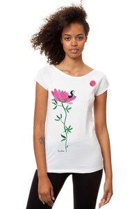 Damen T-Shirt Sonnengrußmädchen Weiß Bio Fair - FellHerz